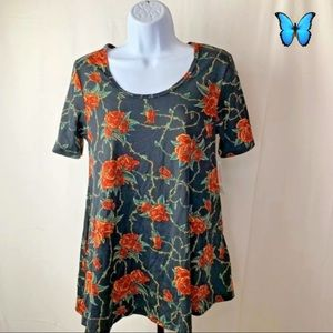 LuLaRoe Size XXS Floral Red & Black Perfect T NWT